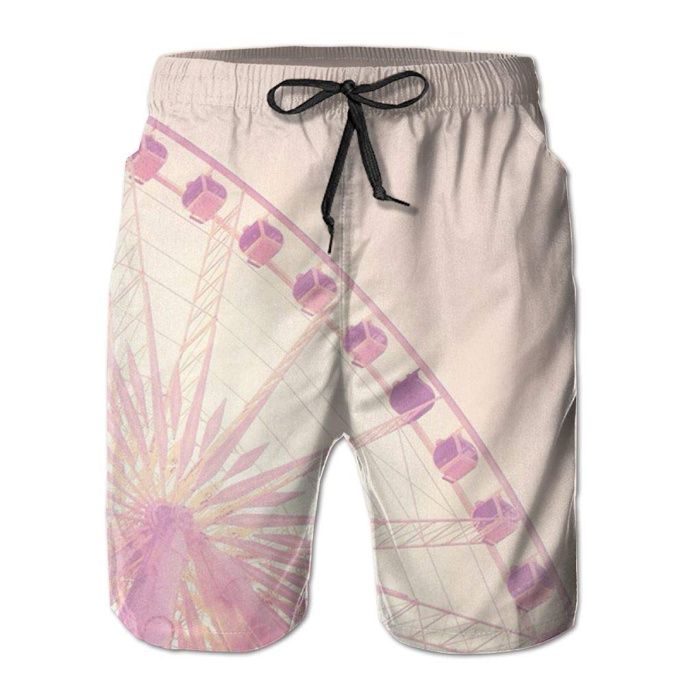 JDHFAF Revolving Ferris Wheel Mens Beach Board Shorts Quick Dry Summer Casual Swimming Soft Fabric with Pocket
