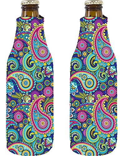 Coolie Junction Paisley Pattern Beer Bottle Coolie 2 Pack