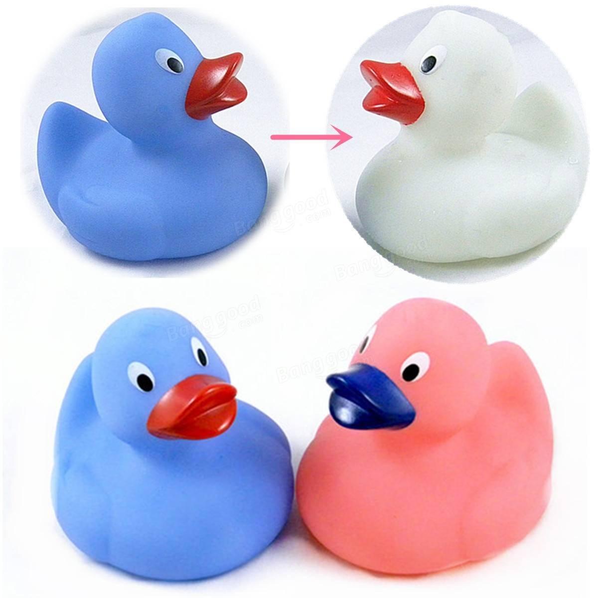 Paleo 1pcs de la ducha del bebé flotador de pato medir la temperatura del agua cambia de color de sonido chirriante de goma de juguete: Amazon.es: Hogar