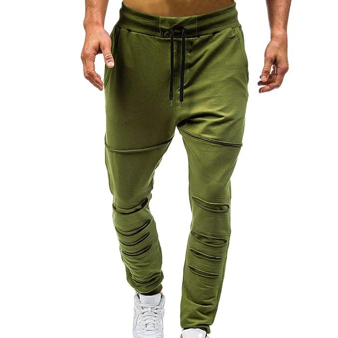 Hombre Pantalones - Pantalones Deportivos Color de Contraste Pantalones de  Harén Holgado Pantalón de Chándal con Cordón y Bolsillo Casuales Largos  Jogger ... 48ac0e3badf
