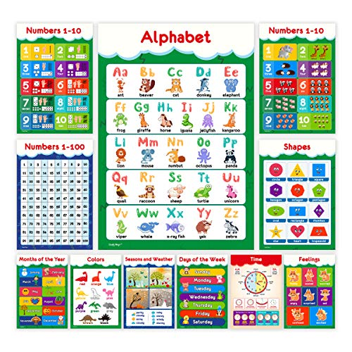 11 Educational Posters for Toddlers and Kids - Perfect for Children Preschool & Kindergarten Classroom Decorations - Alphabet ABC Poster, Numbers, Weather Chart, Shapes, Colors - 13x19 (Non Laminated)