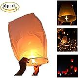 White Paper Lanterns,Bagvhandbagro 10Pcs Sky Wish Lanterns,Fully Assembled, 100% Biodegradable, New Designed Sky Lanterns For Birthdays, Ceremonies, Weddings And More