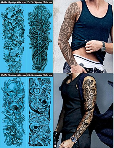 DaLin 4 Sheets Extra Large Temporary Tattoos, Full Arm (Set -