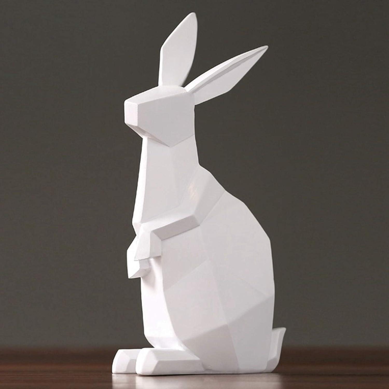 KIKIBEDYZ Statues Sculpture Figurines Statuettes,White Rabbit Geometric Bunny Design Animal Figurines Creative Simple Abstract Crafts for Home Garden Corridor Living Room Art Ornaments Decoratio