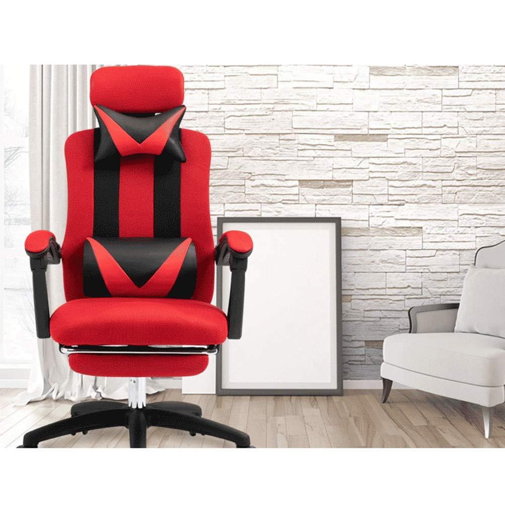 XZYZ Kontor racerstol hög rygg vilstol med fotstöd, justerbart nackstöd, ryggstöd, verkställande chef justerbar uppgift stol (färg: grå) röd