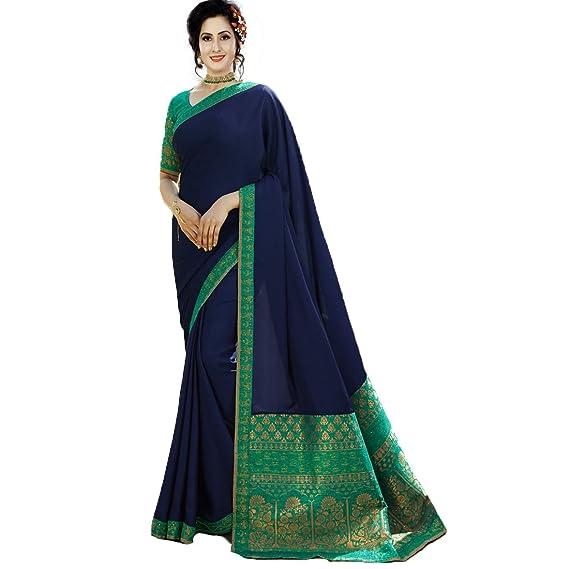 3309853411 IndoPrimo Women's Silk Saree With Blouse (Heavy Wedding Saree 2 _Blue_ Free  Size)