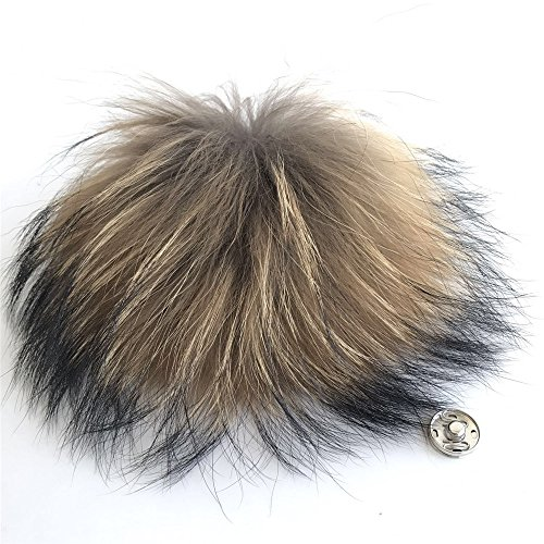15cm 6 Real Natural Raccoon Fur Pom Pom w Snap Button Luxurious Fur Balls for Knitted Cap Winter Beanies Real Fur Accessories