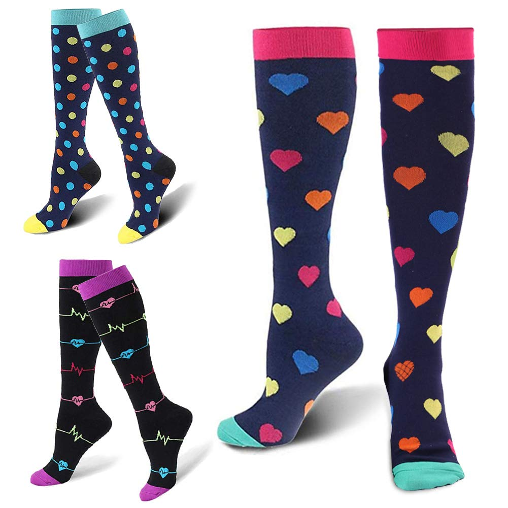 best price really comfortable united states ZFiSt 3 Pairs Medical&Althetic Compression Socks for Women, 20-30 mmHg  Nursing Performance Socks for Edema, Diabetic, Varicose Veins,Shin ...