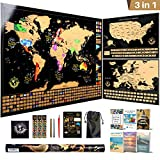 Scratch Off Map of the World + USA + Europe Ultimate Pack | 3 Premium Quality Black Scratch Off Maps With Flags, Infographics, 5 Tools and 6 Ebooks | The Most Complete Travel Tracker Set in the Market