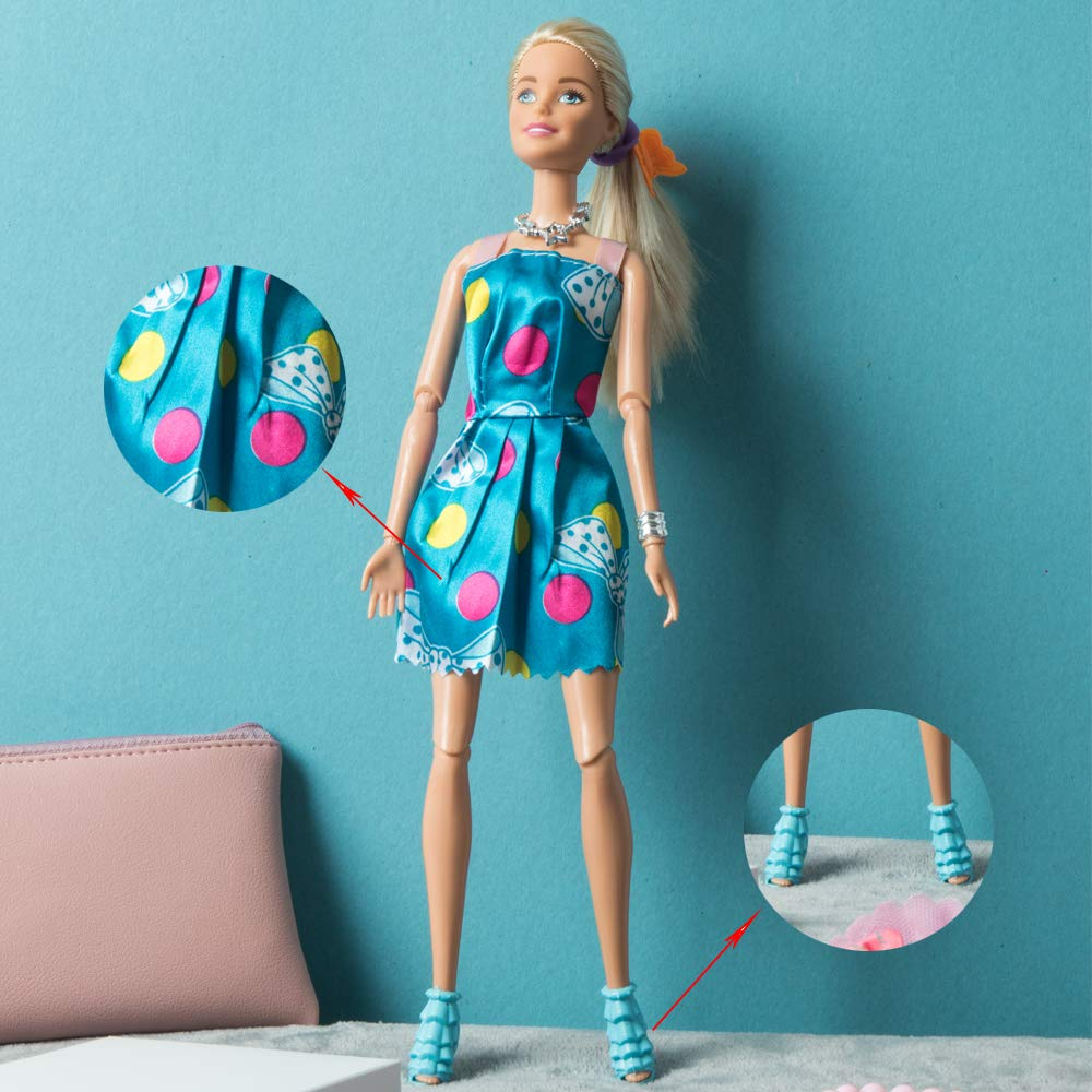 SOTOGO 110 Pieces Doll Clothes and Accessories for Barbie Doll Different Occasions Playset Include 20 Pieces Handmade Doll Grown Outfits Fashion Party Dresses and 90 Pieces Different Doll Accessories