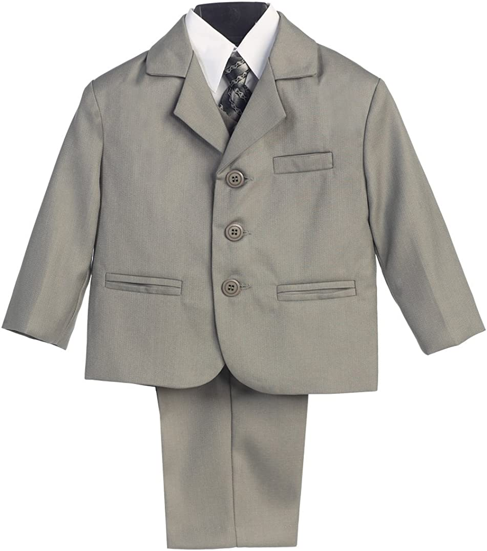 5 Piece Khaki Suit with Shirt Vest and Tie