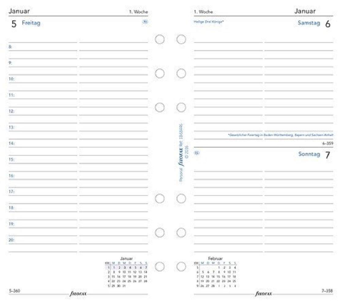 Filofax Personal Calendar Insert Day on 1 Page 2020