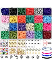 4800PCS Clay Beads Flat Beads for Jewelry Making Bracelets Necklace Earring DIY Craft 24 Colors 6mm Heishi Beads Flat Round Polymer Clay Spacer Beads with Pendant Charms Decorate Accessories Kit