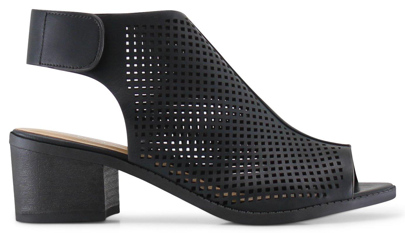 Tuscany Girls Kids Childrens Peep Toe Slingback Laser-Cut Chunky Block Heels Sandals - (Black) - Big Kid 5