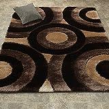Casa Regina Shaggy Collection – 3D Design – Geometric Circles Brown Beige Soft Shag Area Rug 5×7 (5'3″ x 7'3″)