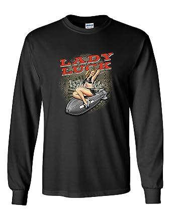 3c5dbaa78 Amazon.com: Lady Luck Sexy Pin up Girl Long Sleeve T-Shirt Vintage ...