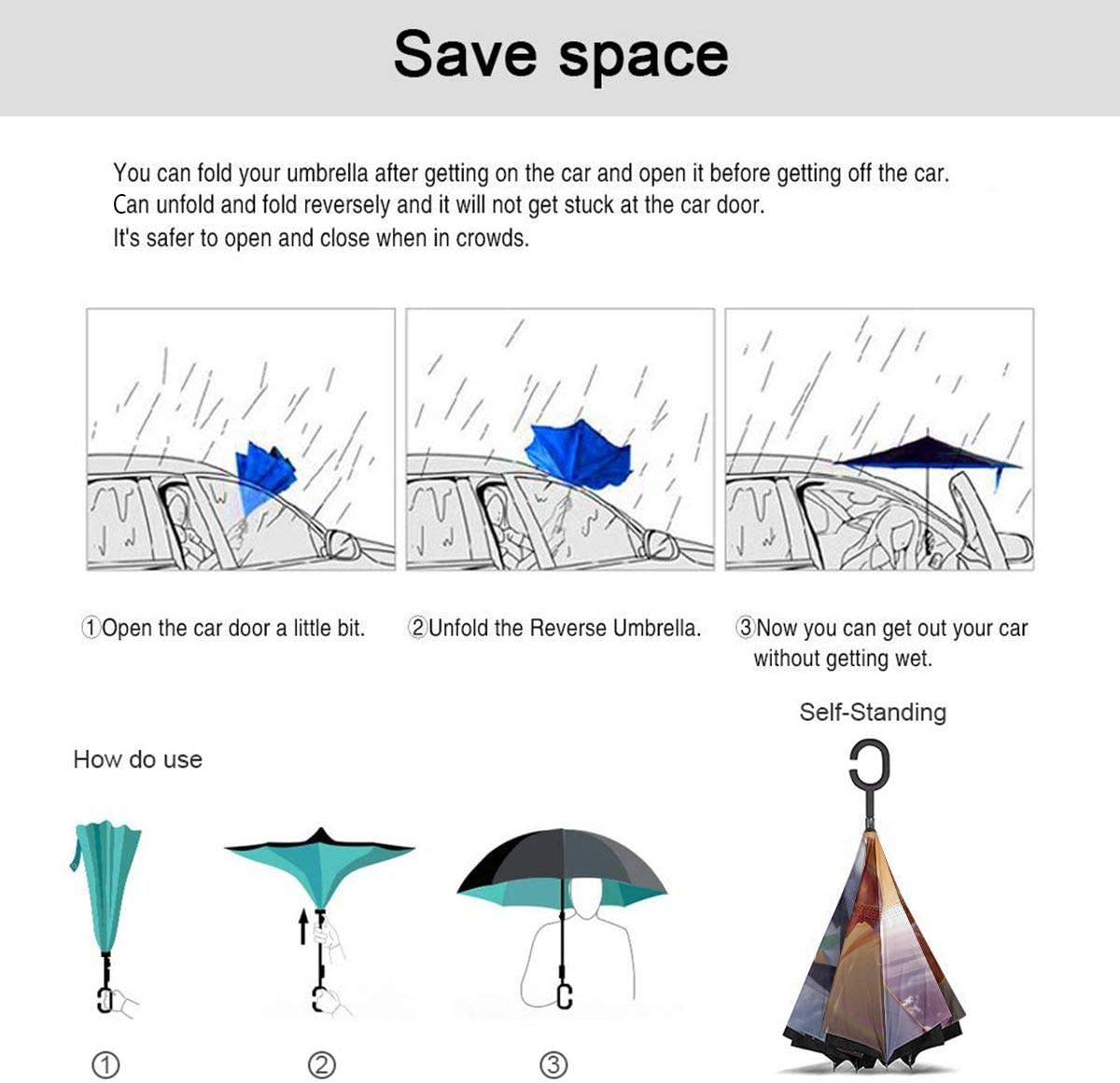 With C-Shaped Handle UV Protection Inverted Folding Umbrellas Windproof And Rainproof Double Folding Inverted Umbrella Evangelion Evangelion Anime Girl Space Car Reverse Umbrella