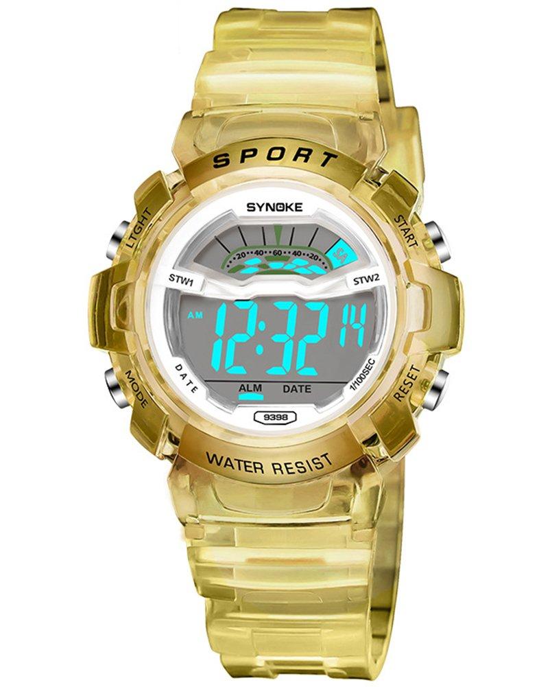 Cheamlion Kids Boys Girls Yellow Water Resistant Jelly Chronograph Digital Watch