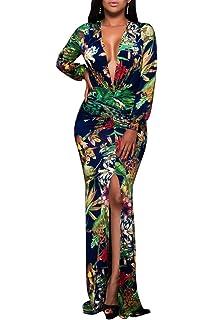 b762b7c6c54 Zamtapary Womens Maxi Dress Deep V Neck Long Sleeve Slit Floral Long Prom  Dresses
