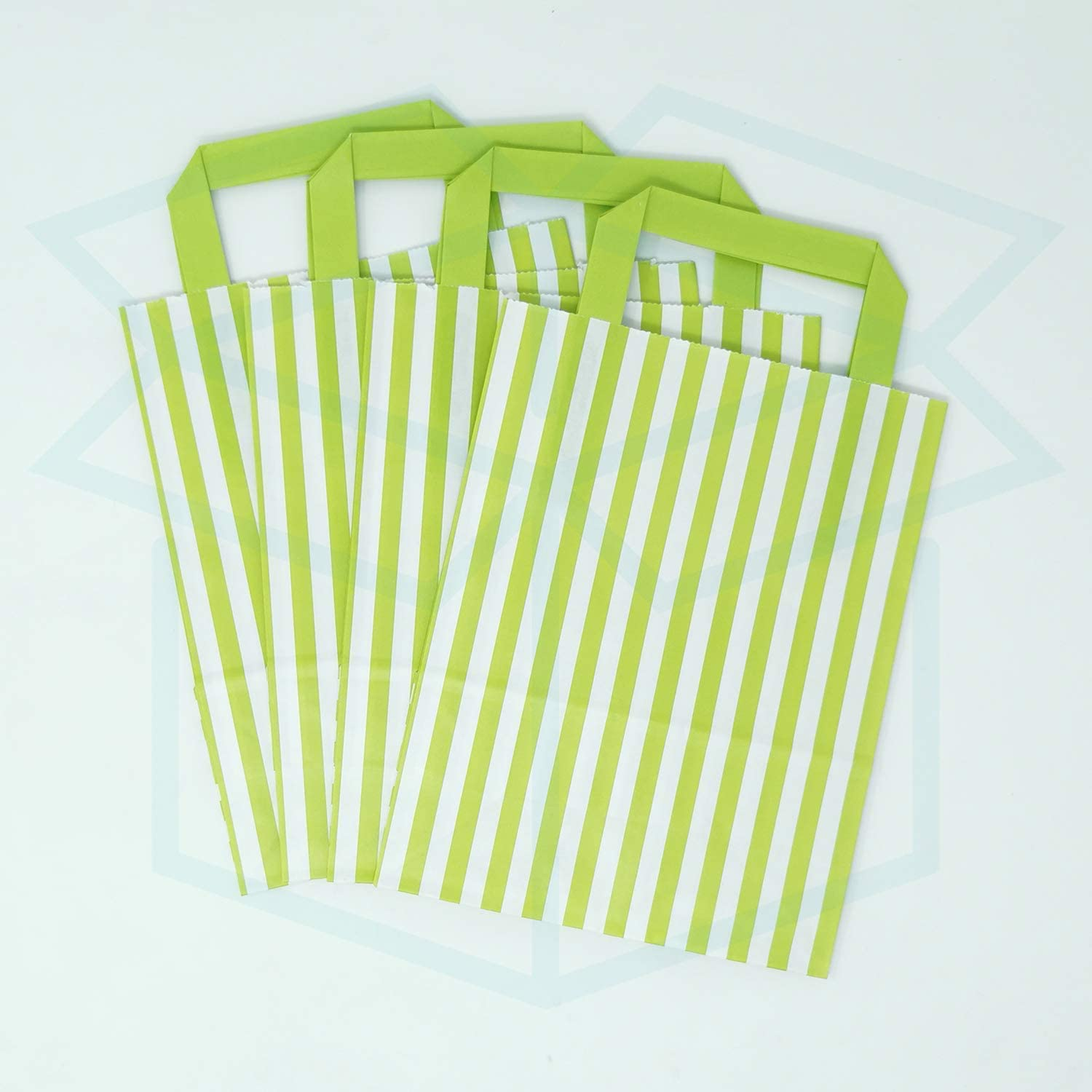 For Takeaway We Can Source It Ltd SOS Block Bottom Kraft Paper Bags with Tape Handles 30 Pack 18 x 8 x 22cm Mixture Candy Stripe Paper Carrier Bags Biodegradable and Eco-Friendly
