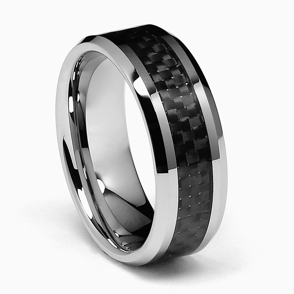 8mm Black Carbon Fiber Inlay Mens Tungsten Carbide Comfort-fit Wedding Band Ring (Size 5 to 15) - Size 8