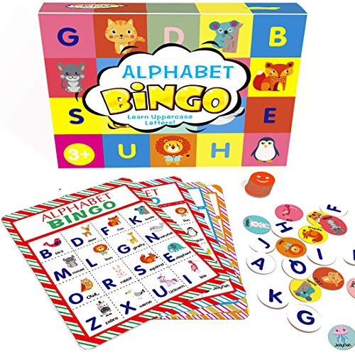Alphabet Learning Bingo Game Animal ABC Letters Bingo Cards Game for Kids - Double Sided Design, Allow up to 8 - Alphabet Card Games