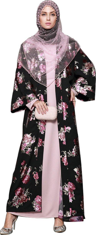 YI HENG MEI Women's Elegant Modest Muslim Clothing Full Length Open Front Floral Abaya Coat