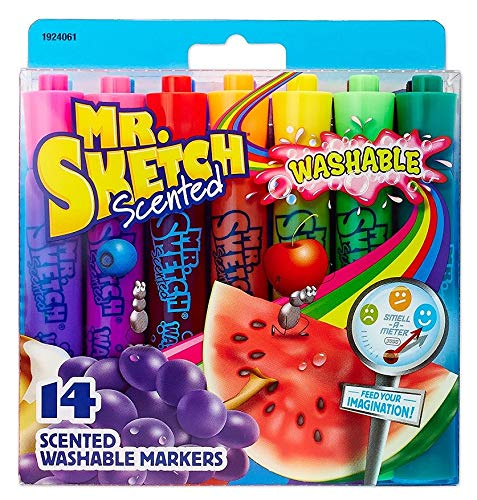 Mr. Sketch Washable Scented Markers, Chisel Tip, Assorted Colors