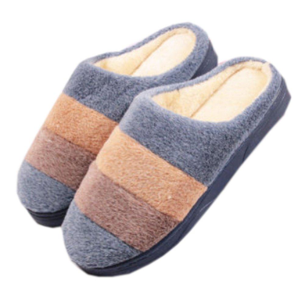 Mens Warm & Cozy Indoor Plush House Slipper, Blue Blancho Bedding