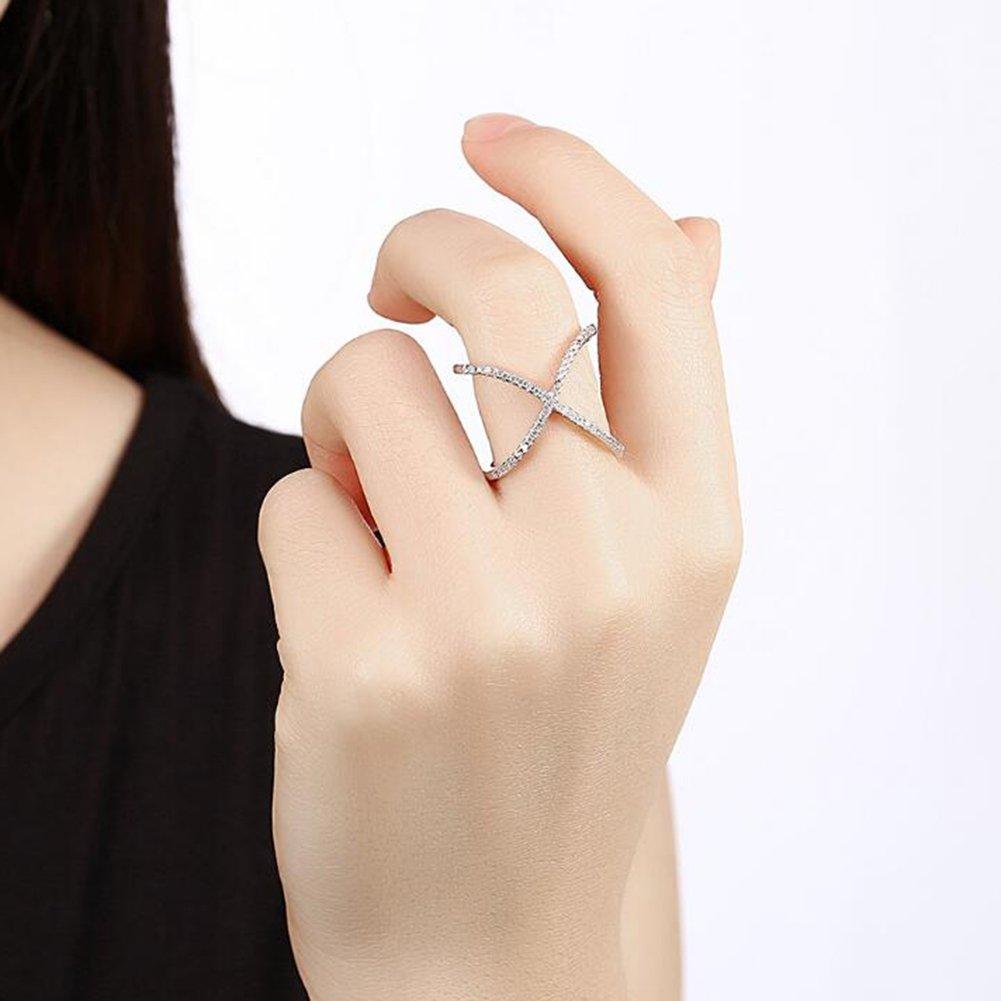 Impression 1 PCS Anillos Anillo de personalidad cruzada Anillo de diamantes de Moda Anillo de Cristal Girl Accesorios de la Joyer/ía D/ía de San Valent/ín Regalos de Boda Anillo Abierto Silver