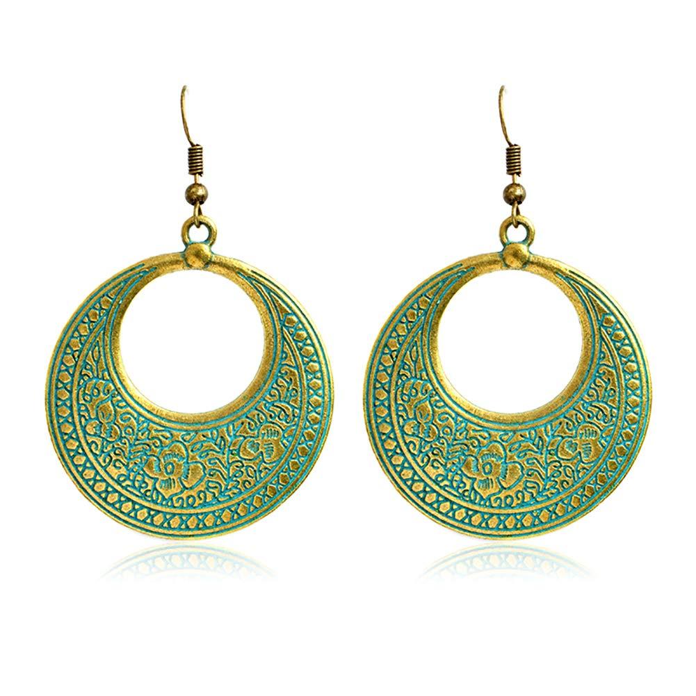 MoGist Fashion Women's Vintage Bronze Carved Earrings Ear Hoop Fish Hook Earrings Stud Earrings for Women and Girls