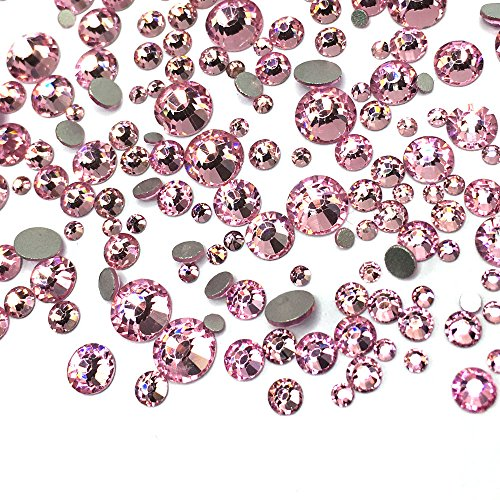 450 pcs 2mm - 6mm top quality Glass Light Rose Pink round Nail Art Mixed Flatbacks Rhinestones Gems Mix SIZE [By belle one belle] ()
