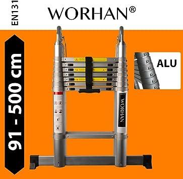 WORHAN® Escalera Doble Telescopica (5.6 m., 5.0 m., 4.4 M., 3,8 m., 3.2 M) con anillas de aluminio extensible y plegable multiusos de aluminio un marco robusto: Amazon.es: Bricolaje y herramientas