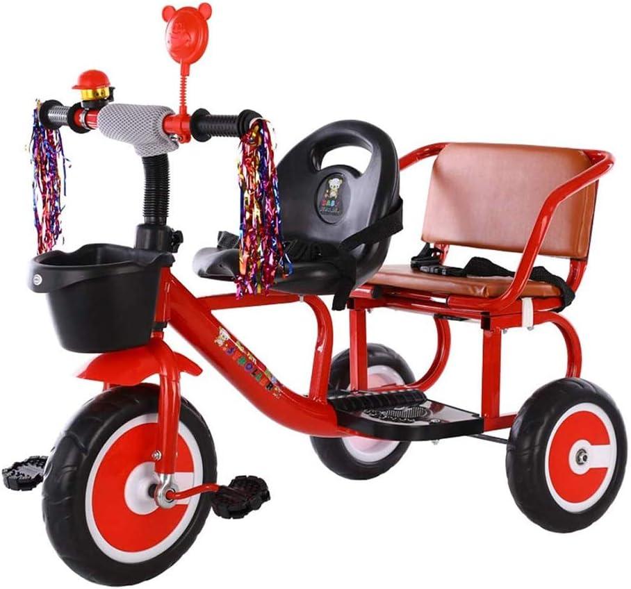 HYDDG para niños Doble Triciclo Bicicleta, Lata Traer Personas Dos Asientos Scooter Gemelo Niños Juguete Bicicleta Ligero Equilibrar Bicicleta para 1-3-6 años Antiguo Niños y Muchachas