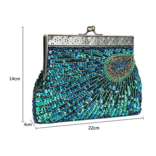 Beaded Party Evening Handbag Purple CHUANGLI Purse Clutch Women's Peacock Prom Wedding Sequin Bags Sparkly Rga6B