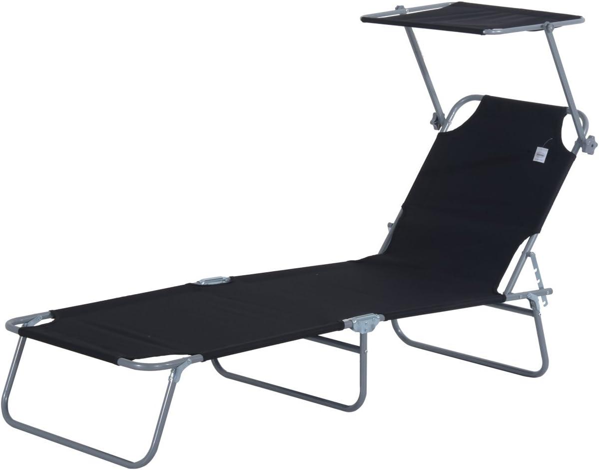 Outsunny Tumbona Hamaca Plegable con Parasol Inclinable Playa Piscina 187x58x27 cm Acero Negro