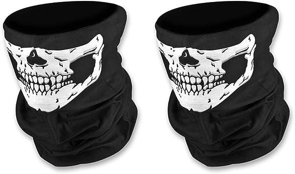 Doutop Paintball Maske Motorrad Sturmmaske 2er Pack Totenkopf Maske Für Halloween Gesichtsmaske Skeleton Schädel Bandana Für Radfahren Kart Balaclava Karneval Skifahren Schwarz Auto