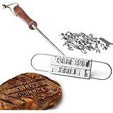 Dealglad®, ferro per marchiatura da barbecue, con 54lettere staccabili per fai da te, strumento da barbecue per carne, bistecca, hamburger