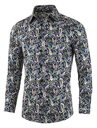uxcell Men Long Sleeve Button Down Front Paisley Casual Cotton Hawaiian Shirt (US 46) XLarge Navy Blue
