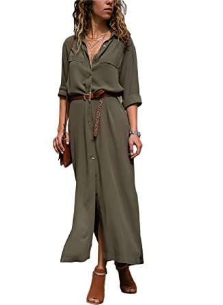 475bba2308ae Happy Sailed Damen Langarm V-Ausschnitt Elegant Lang Blusenkleid Hemdkleid  Shirt Kleid Oberteil Kleid Maxikleid mit Gürtel S-XL  Amazon.de  Bekleidung