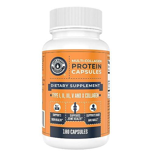 Multi Collagen Protein Capsules (Collagen Caps 1 2 3 5 10) - 180 Collagen Peptide Pills. Grass Fed Bovine, Chicken & Eggshell Supplement for Men and Women by Left Coast Performance