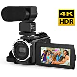 Video Camcorder, Andoer 4K Camcorder 48MP Digital Video Camera 2880 x 2160 HD 3inch Touchscreen Handy Camera with IR Night Vision Support 16X Zoom 128GB Max Storage (Camera+Microphone)