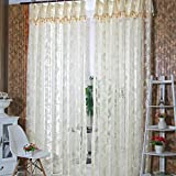 Diamondo 1PCS Romantic Door Window Sheer Curtain Drape Panel Leaf Voile Tulle Scarfs Vala (cream-coloured)