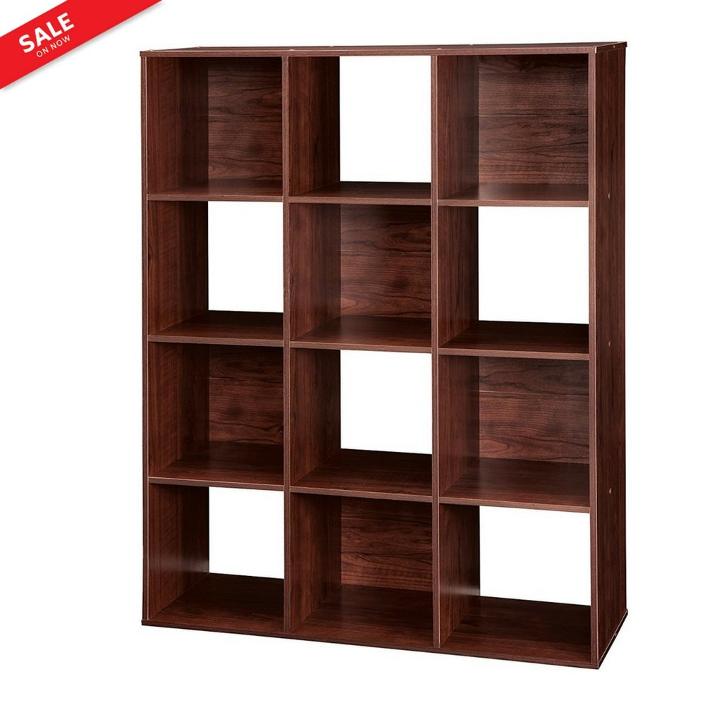 Cubical Shelf Organizer Storage Unit Adjustable 12-Cubby Stackable Storage Sections Organizer Decorative Indoor Home Office Entryway Decor Furniture Bookcase & eBook by BADA shop