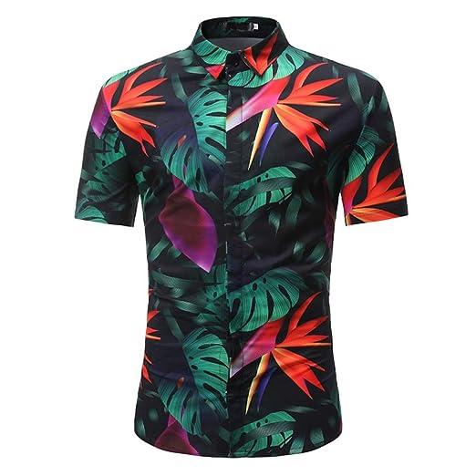 9d00f868644 Men Dress Shirt Stand Collar Shirt Button Down Summer Floral Shirt Graphic  Shirts Blouse Tops by