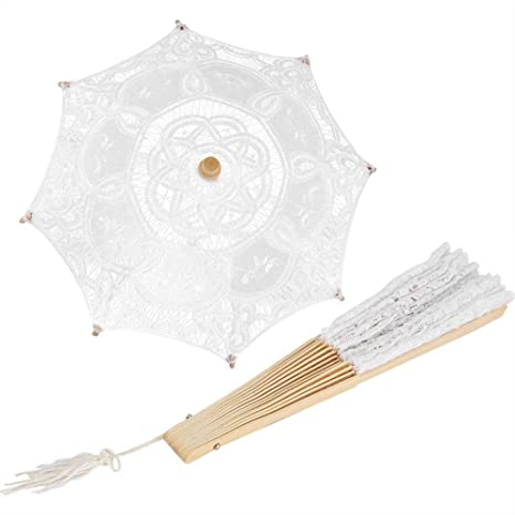 Amazon.com: Lace Umbrella Lace Folding Hand Fan Wedding Lace ...
