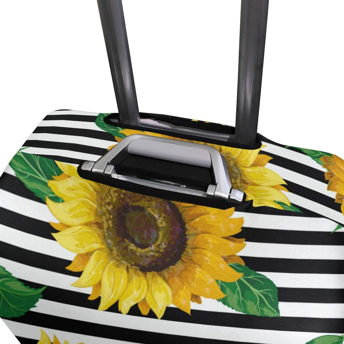 Travel Luggage Cover Yellow Sunflowers White Black Stripes Suitcase Protector