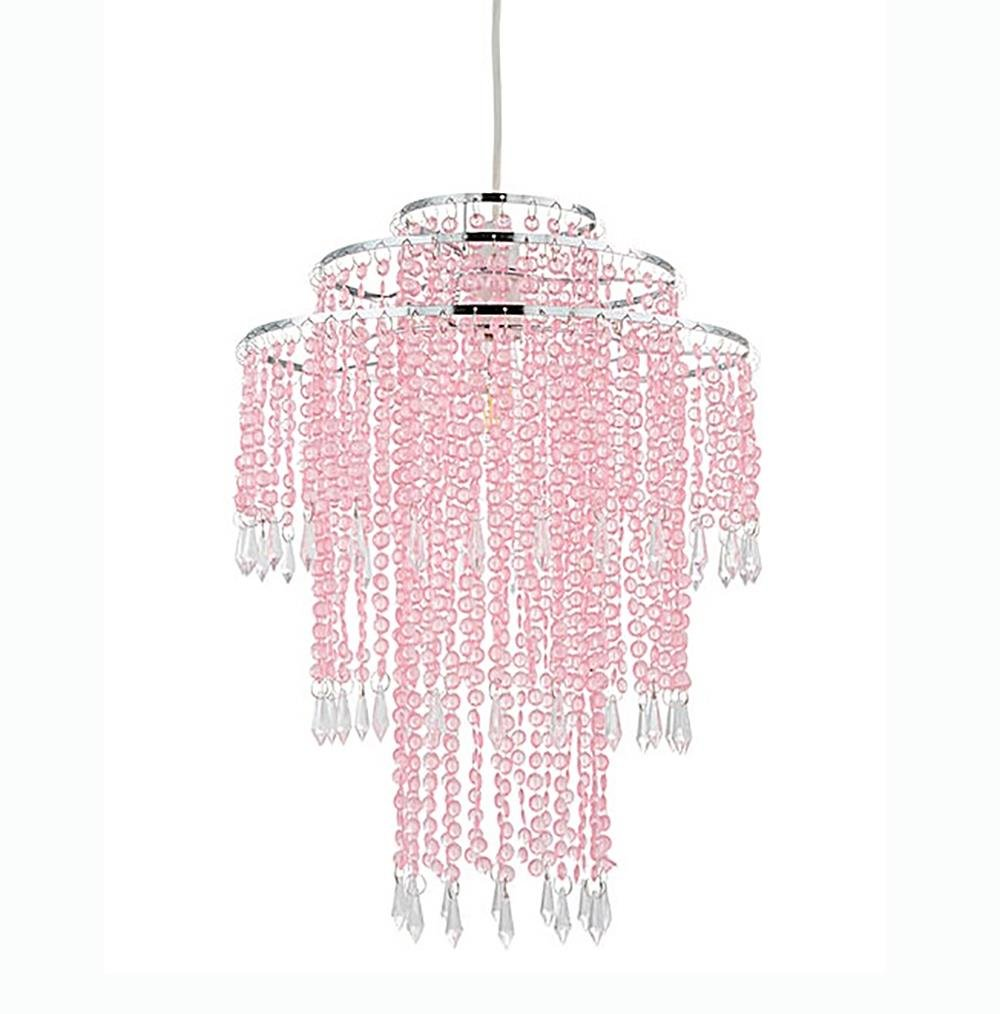 Beaded Metal Easy Fit Non Electrical Ceiling Pendant Light Shade Smokey Lights and Linen