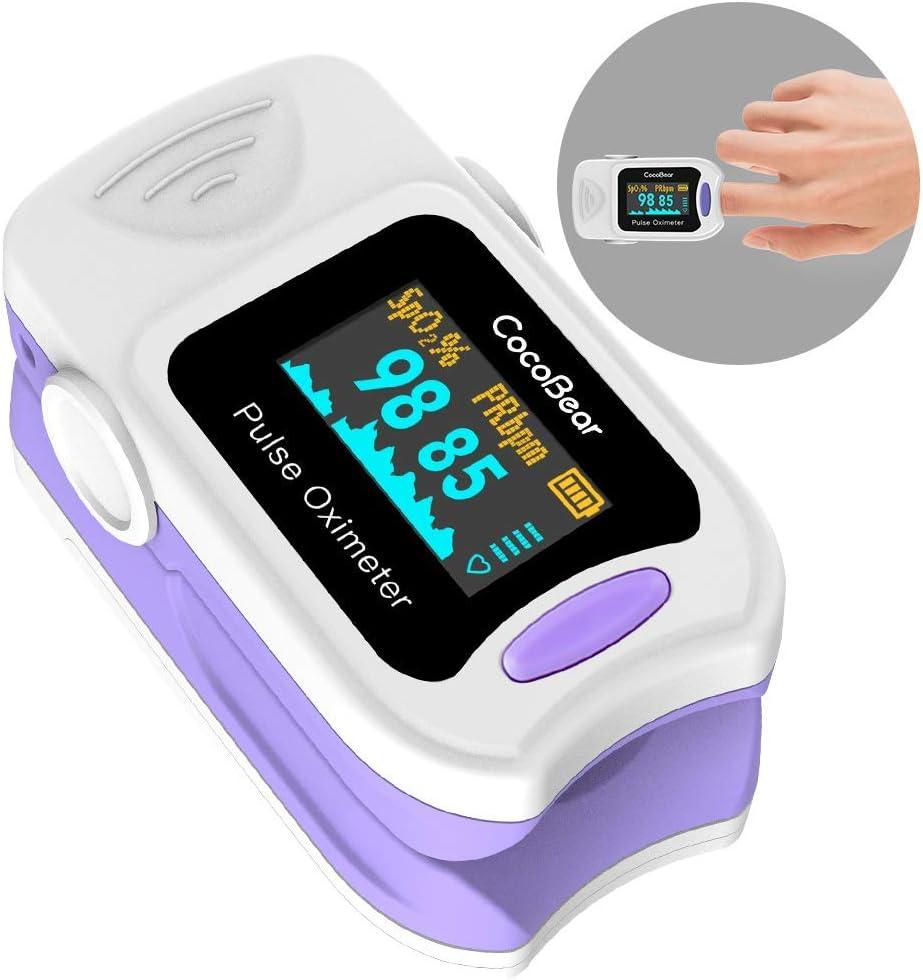 Pulso Oxímetro CocoBear Monitor de Saturación Digital de Oxígeno SpO2 OLED Monitor de Pulso, Instantáneo de Lectura Función de Alarma …