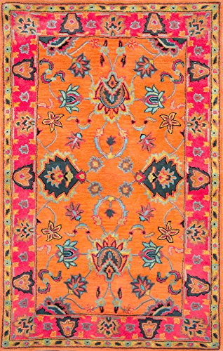 """nuLOOM Montesque Hand Tufted Wool Runner Rug, 2' 6"""" x 10', Orange - Style: Traditional Color : Orange Actual Size: 2' 6"""" x 10' - runner-rugs, entryway-furniture-decor, entryway-laundry-room - 61xpBp8M6sL -"""